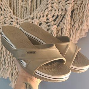 Tan crocs platform sandals